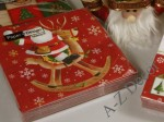 Red Christmas paper napkins with reindeer [AZ01330]