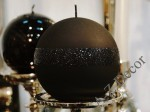 Black ball candle with glitter 12cm [AZ01784]