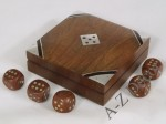 Rosewood dice box with 5 cubes [AZ01567]