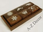 Wooden tray with 6 small gift boxes [AZ01555]