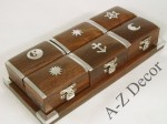 Wooden tray w/6 boxes 21x10x4cm [AZ01585]