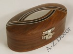 Wooden oval box with silver design 10cm [AZ01575]