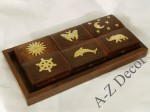Wooden tray with 6 gift boxes [AZ01554]
