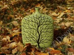 Green ceramic vase with Winter tree design 30cm [AZ00759]