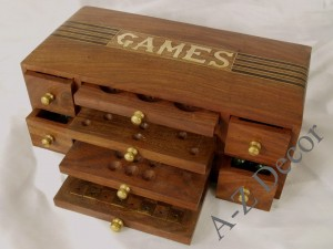 Wooden multi game box 27x13x10cm [AZ01558]