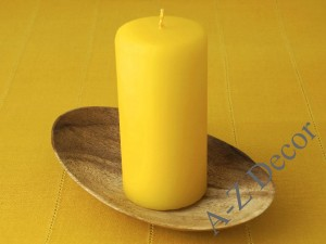 Yellow pillar velvet candle 15cm [AZ02045]