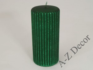 Green pillar candle with vertical grooves 15cm [AZ01740]