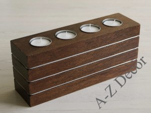 Rectangular wooden Tealight candle holder 26cm [AZ00395]