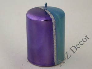 Metaliic pillar candle with glitter 10cm [007982]