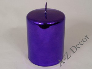 Navy blue metallic candle 10cm [AZ01878]