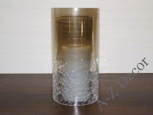 Cylindrcal glass cover for candle 10x20cm [AZ01296]