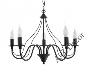 Five-armrd CHARLOTTE chandelier black [003180]