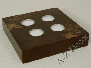 ROSETTE wooden candle holder 17,5cm [004036]