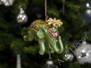 Green circus elephant hanging decoration 11,5cm [AZ01622]