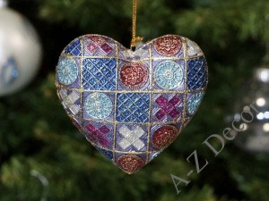 Blue Monticello heart Christmas hanging ornament 9cm [AZ02212]
