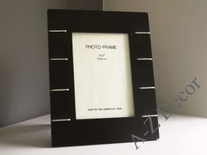 Black photo frame with metal inserts 26cm [AZ00401]
