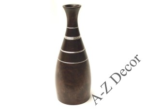 Mango wooden vase with metal rings 38cm [002797]