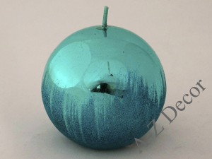 Turquoise metallic ball candle 10cm [007936]