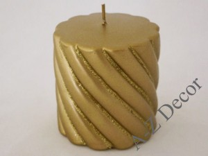 Gold twisted pillar candle 10cm [007889]