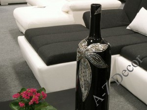 Black ceramic vase with mother-of-pearl 77cm [AZ01411]