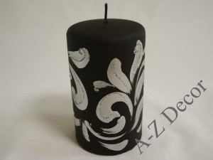 Black Fiorentino pillar candle 15cm [AZ01988]
