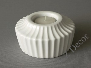 Glossy white ADONIS T-light candle holder 11x6cm [000380]