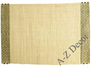 Ecru raffia table placemat with strips [AZ01084]
