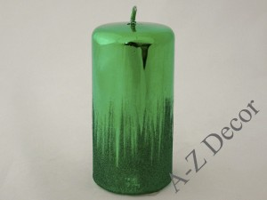 Green metallic pillar candle 15cm [007948]