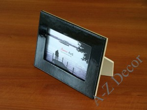Black artificial leather photo frame [AZ00688]