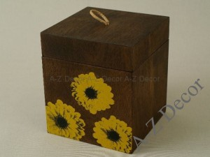 TOURNESOL wooden box with  sunflowers [003341]