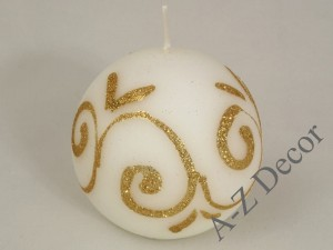 White ball candle with glitter motif 9cm [AZ01726]