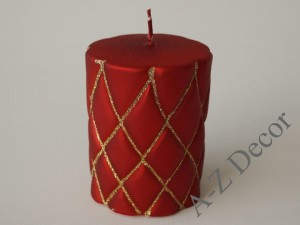 Red decorated pillar candle 10cm [AZ01996]