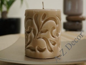 Light brown Fiorentino pillar candle 10cm [AZ02067]