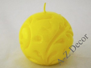 Yellow Fiorentino ball candle 10cm [AZ02186]