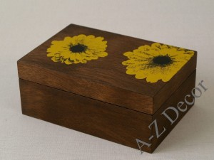 TOURNESOL wooden box with sunflowers [003344]