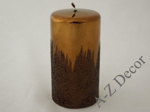 Brown metallic pillar candle 15cm [007953]
