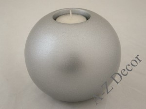 Matte silver ceramic T-light holder 13cm [AZ02321]