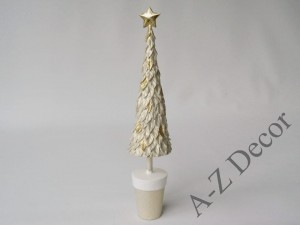 Christmas tree of ecru resin  33cm [AZ02092]
