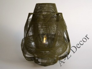 SIRI olive green metal candle holder 29cm [AZ02309]