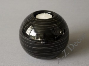 Black ball T-light holder 12x10cm [000261]