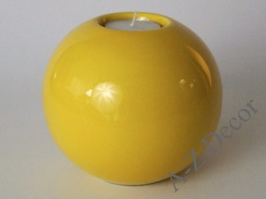 Yellow glazed ceramic T-light holder 13cm [AZ02395]