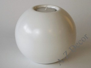 Matte white ceramic T-light holder 13cm [AZ02396]