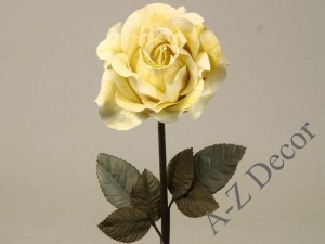Pastel lemon artificial antique rose 59cm [AZ01704]