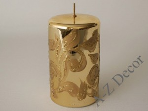 Gold Fiorentino pillar candle 15cm [AZ01989]