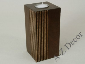 Wooden PLISADO tealight holder 15cm [003994]