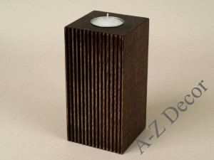 Wooden PLISADO tealight candle holder 15cm [AZ00593]