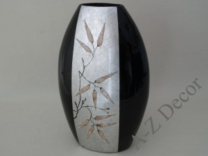 Black ceramic vase with silver pattern 50cm [AZ01406]