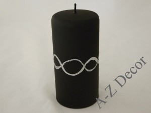 Black velvet pillar candle 15cm [008057]