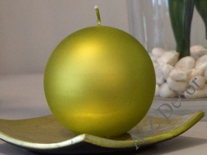 Lime velvet ball candle 10cm [AZ01860]