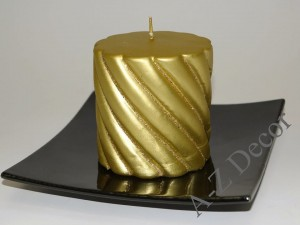 Gold velvet twisted pillar candle with glitter 10cm [001192]